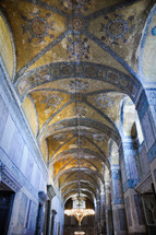 A vaulted corridor in the Hagia Sophia in Istanbul.  The Islamic art covers the Christian mosaic