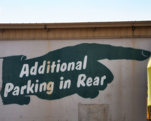 Additional Parking in Rear sign