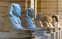 row of sphinx statues