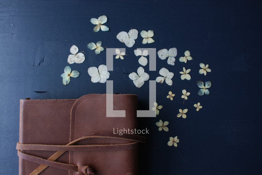 leather case around a Bible and flowers on a navy background