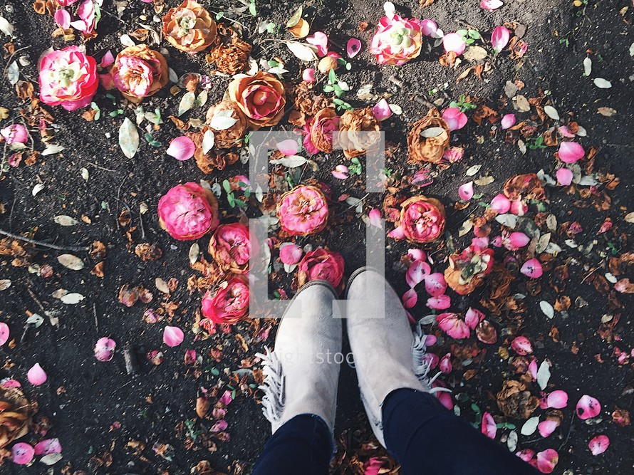boots standing on pink flowers on pavement