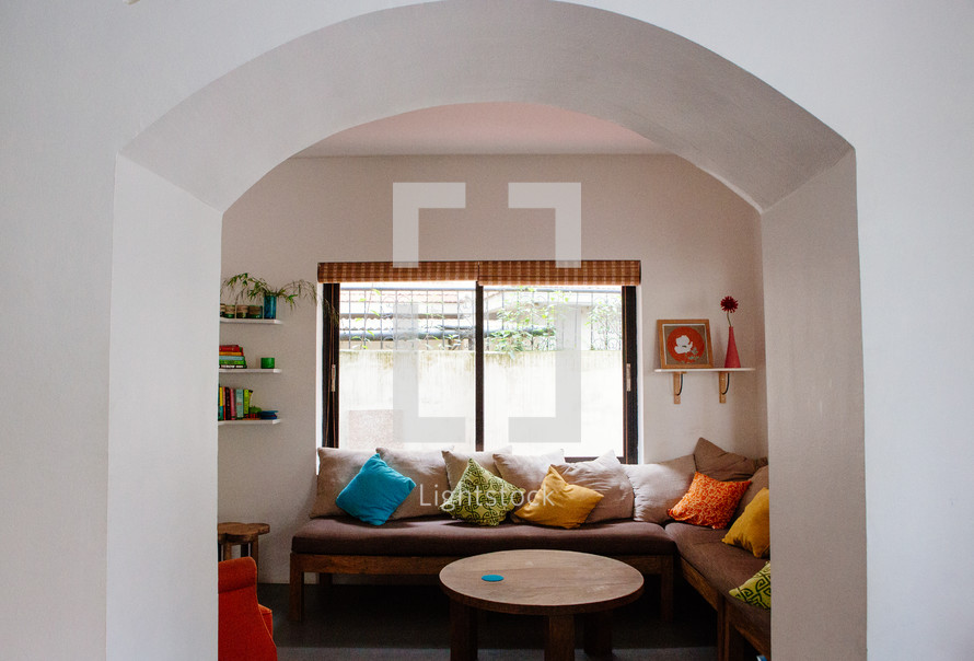 sectional seating in a window