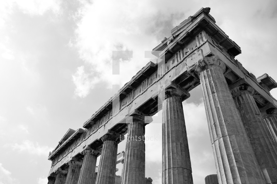 The Parthanon on the Acropolis in Greece.