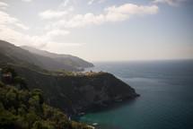 A rugged coastline along the ocean's edge.