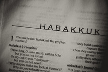 Open Bible in book of Habakkuk