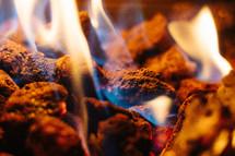 flames on coals