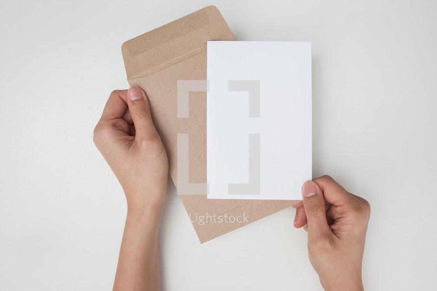 opening an envelope