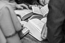 open Bibles being read at a Bible study