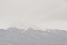 A snow covered mountain peak.