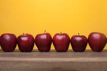 apples on a desk