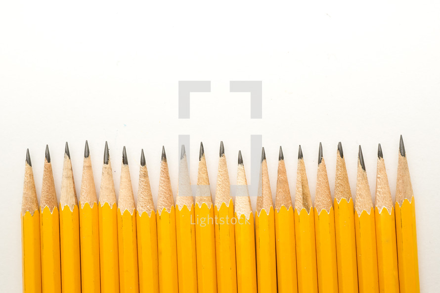 sharpened pencils in a row