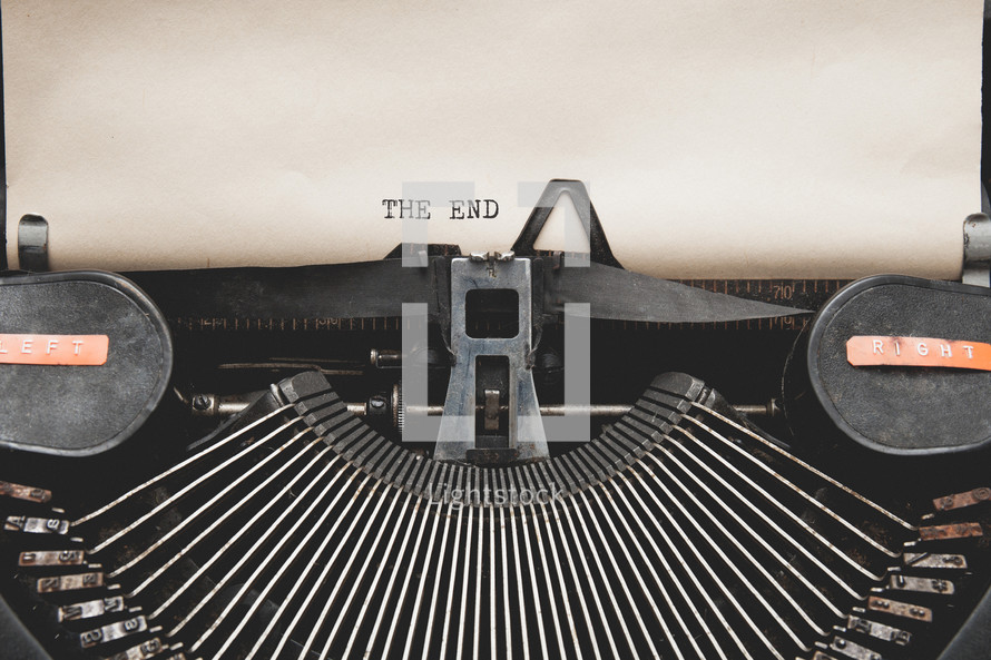 The End on a vintage typewriter