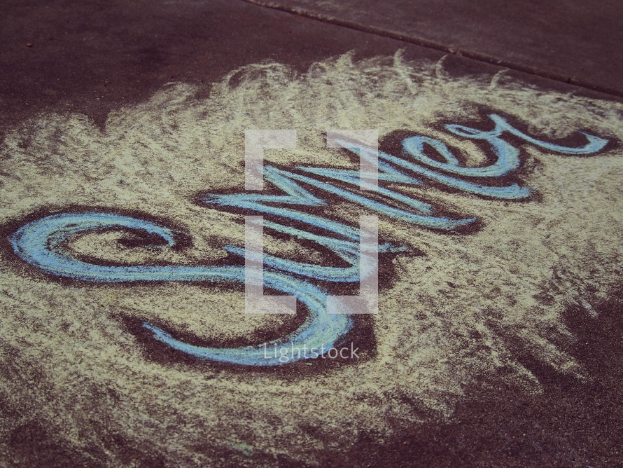 word summer in sidewalk chalk