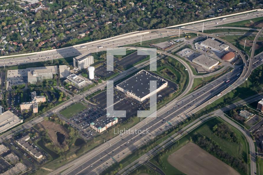 aerial view of highways