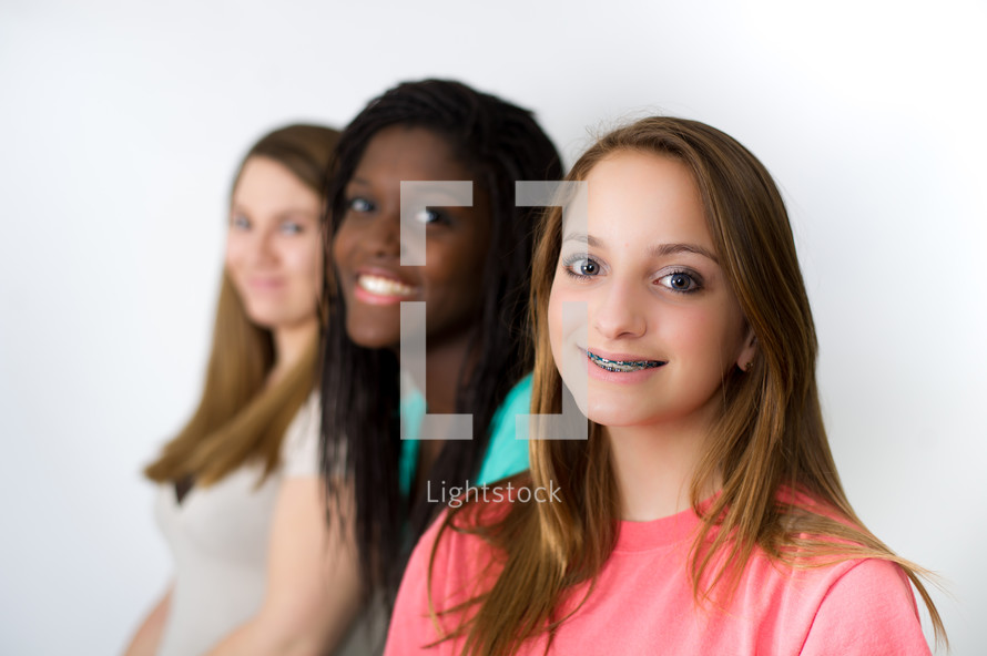 smiling teen girls