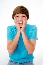 surprised teen boy