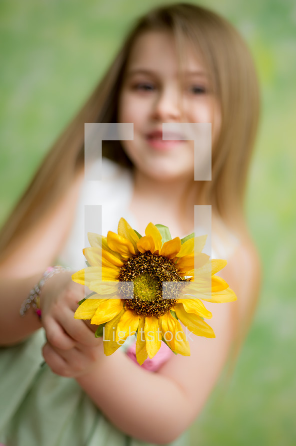 little girl holding a sunflower