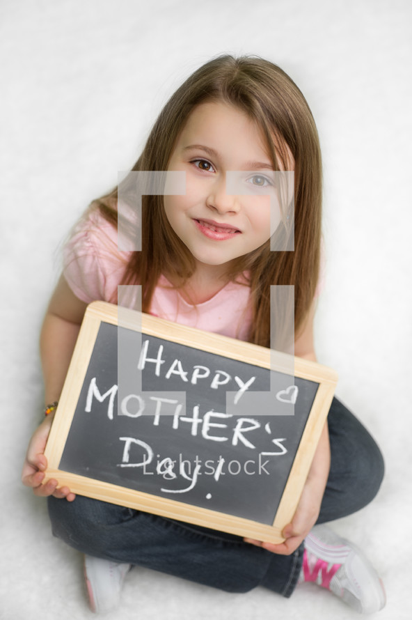 girl holding a Happy Mother's day sign