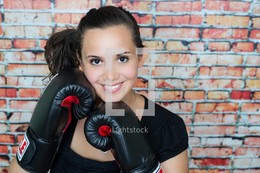 female boxer posing