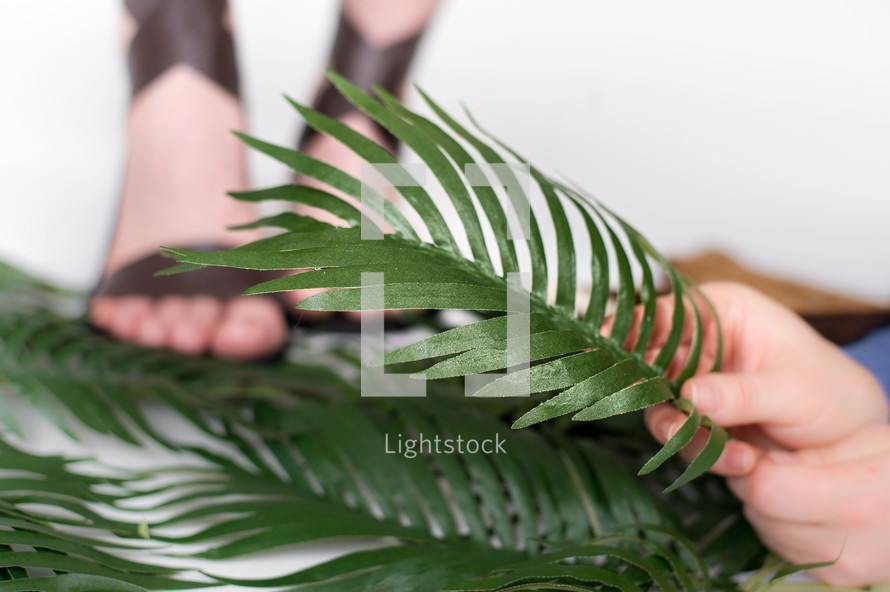 Hands and feet on palm leaves.
