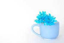 Blue flowers in a blue cup.