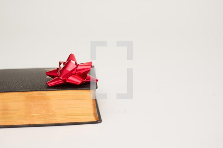 Christmas bow and Bible
