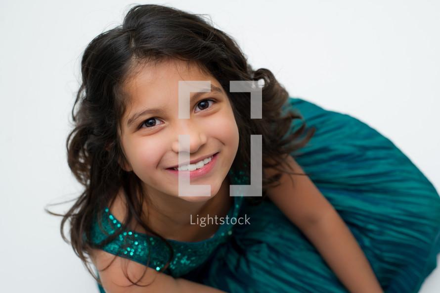 girl child in Christmas dress