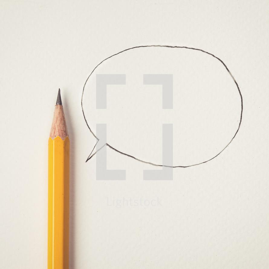 pencil and talk bubble