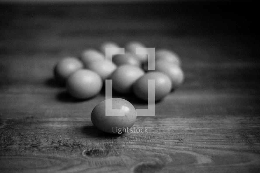 fresh eggs on a counter top