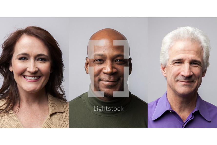 Portraits of three adults.