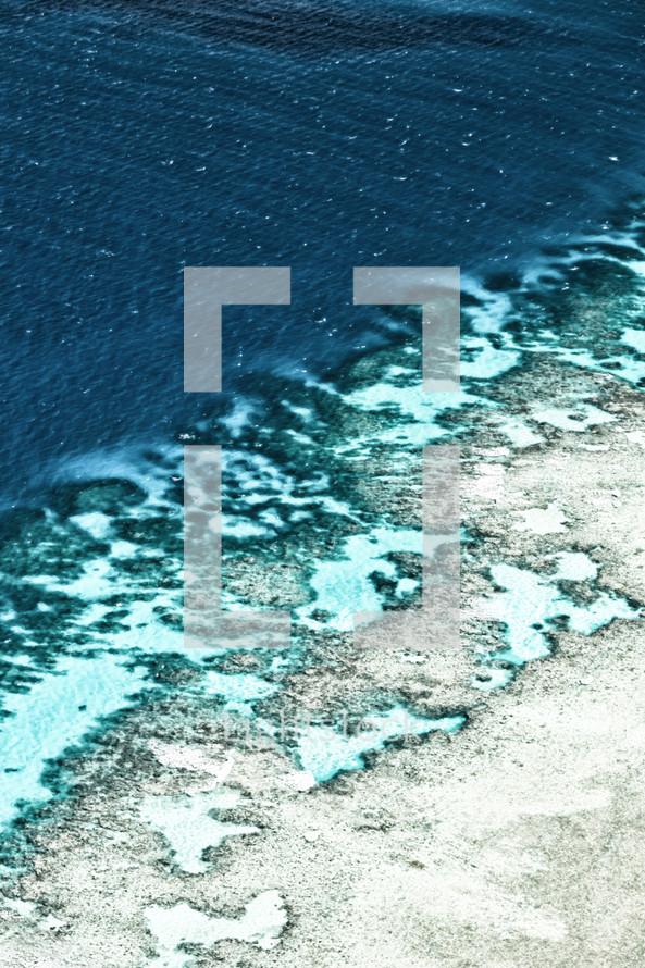 ocean washing onto a shore