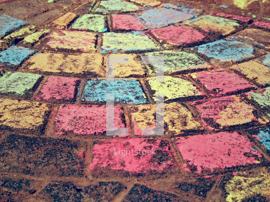 chalk, sidewalk chalk, colorful, patio, bricks, texture, radial