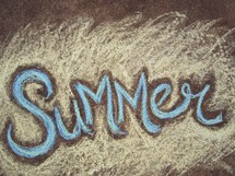 word summer in sidewalk chalk