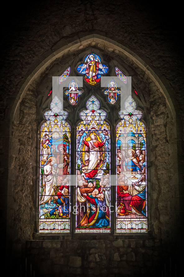 stained glass window in a cathedral