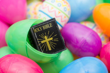 plastic Easter Eggs filled with miniature Holy Bible