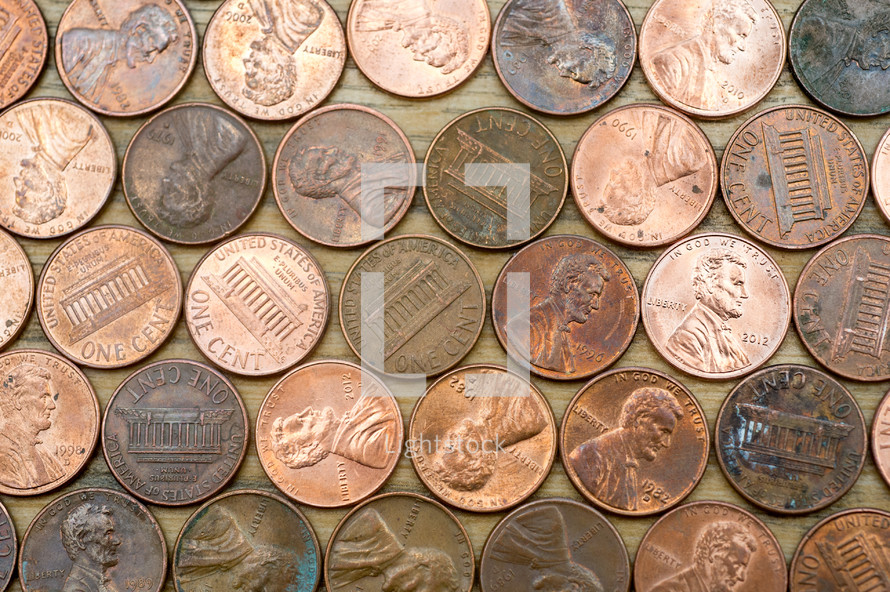 pennies lying on a table