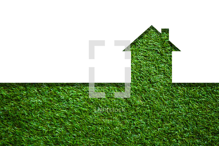 house shape on green grass