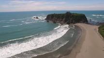drone over a coastline