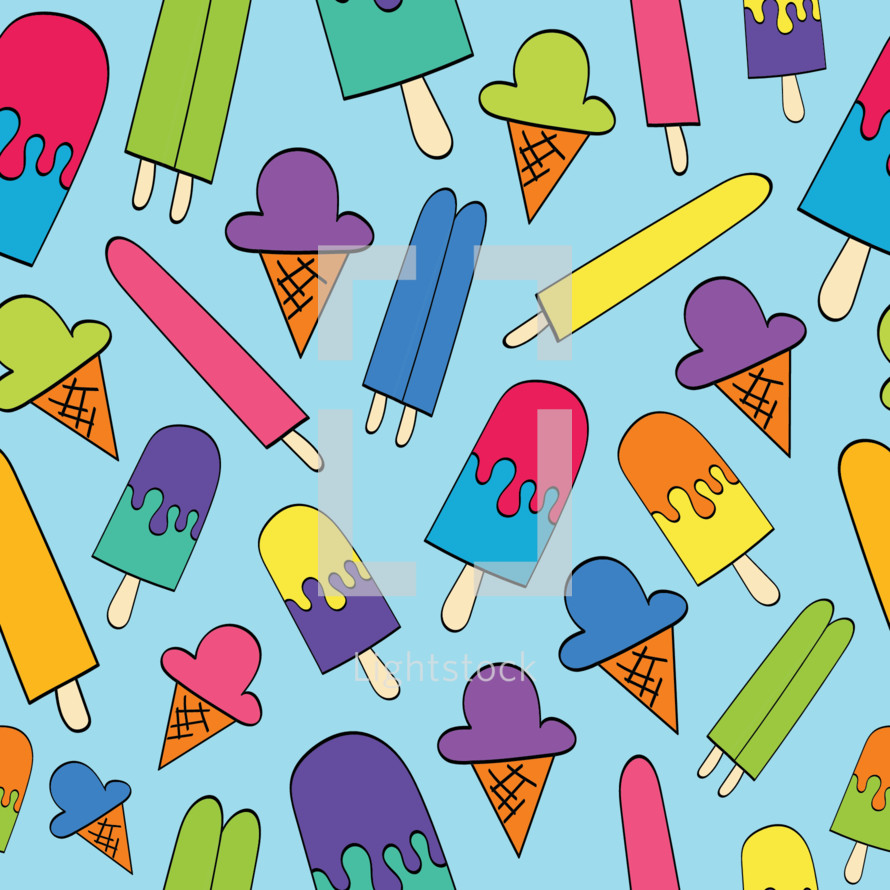 ice cream and popsicles pattern background