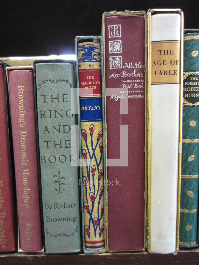 """Section of """"B"""" author classic library books."""