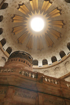 Dome over Jesus empty tomb and rotunda in Jerusalem in the Church of the Holy Sepulcher