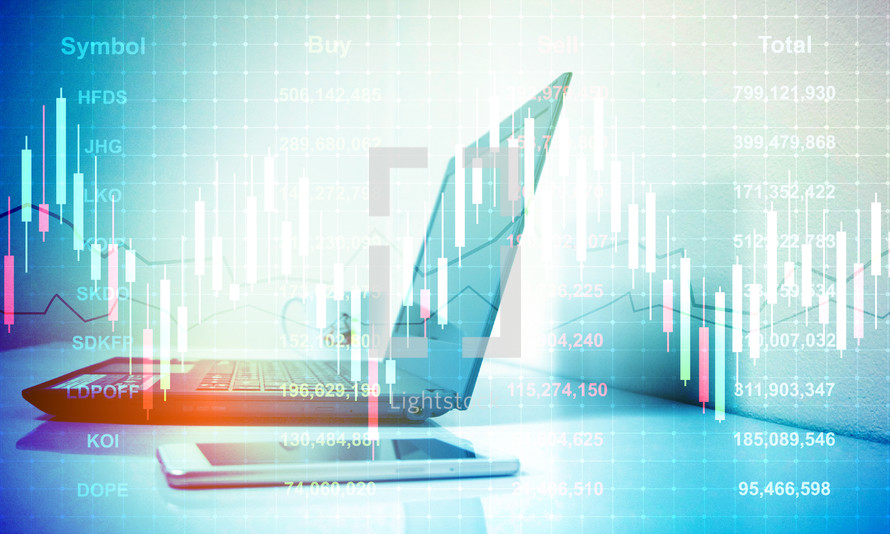 Digital Stock market trading background.Business investment concept.Profit graph chart growth.