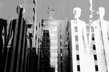 double exposure of people holding hands and city buildings - we are all in this together