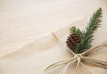 pine and pine cone on a brown paper gift box