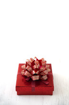 bow on a red gift box