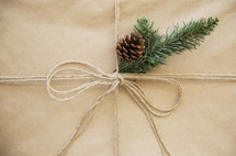 brown paper gift box with pine cone