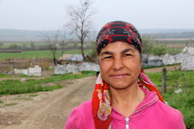 Face of a Gypsey woman in Romania