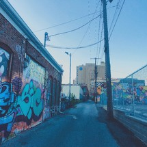 graffiti and street art on walls and power lines