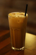 straw in an iced coffee