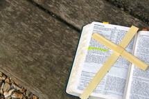 Palm Sunday cross on open bible on wooden bench 'He is Risen'.